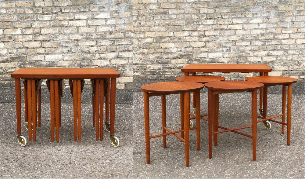 Poul Hundevad nesting tables in trolley