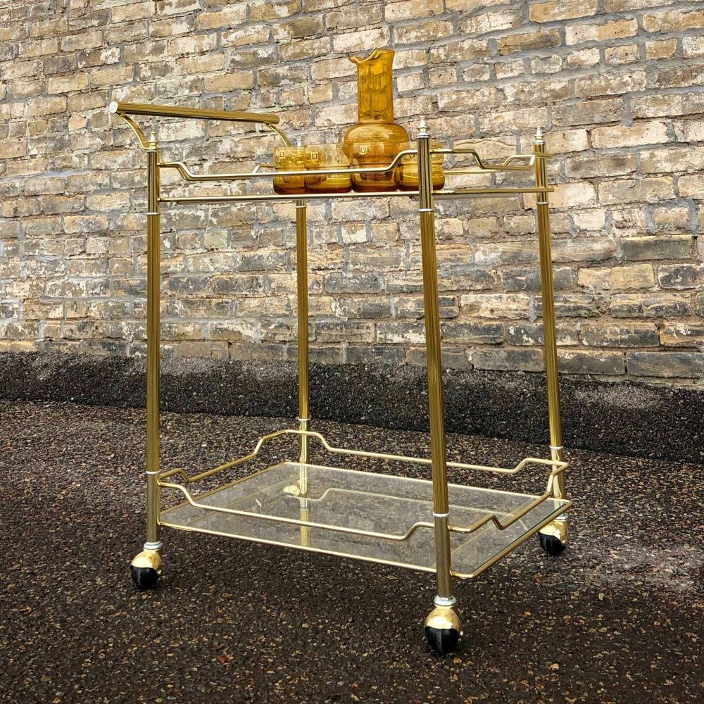 Italian style Hollywood Regency brass serving cart