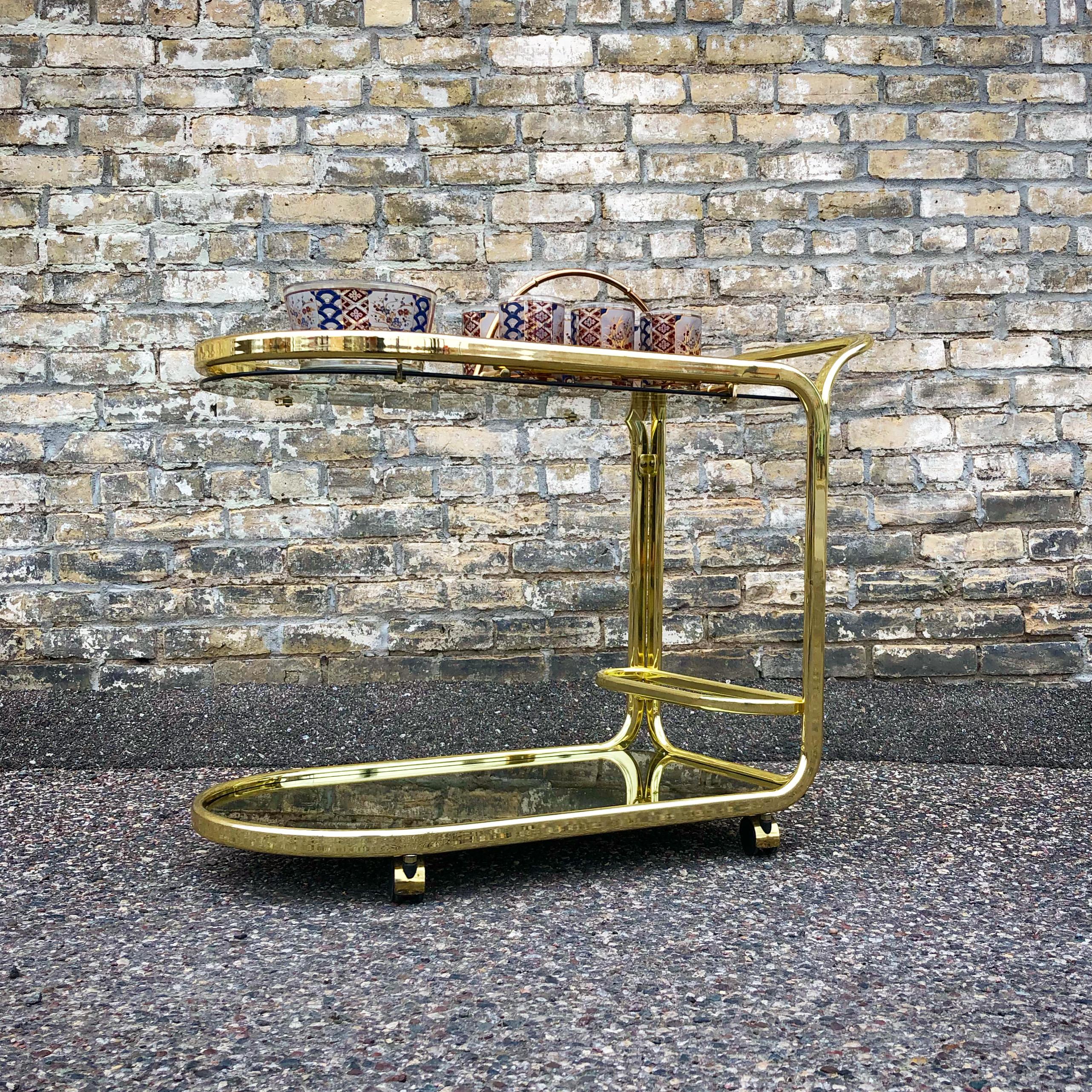 Italian modern style brass serving cart - trolley