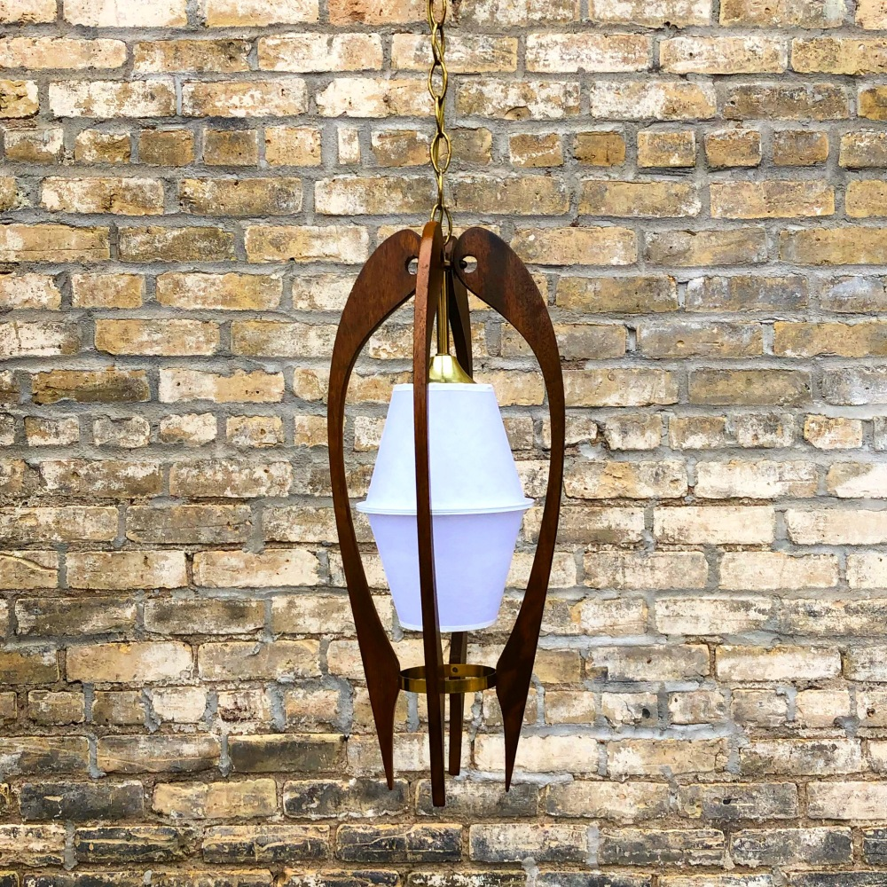 Mid-century walnut pendant light fixture