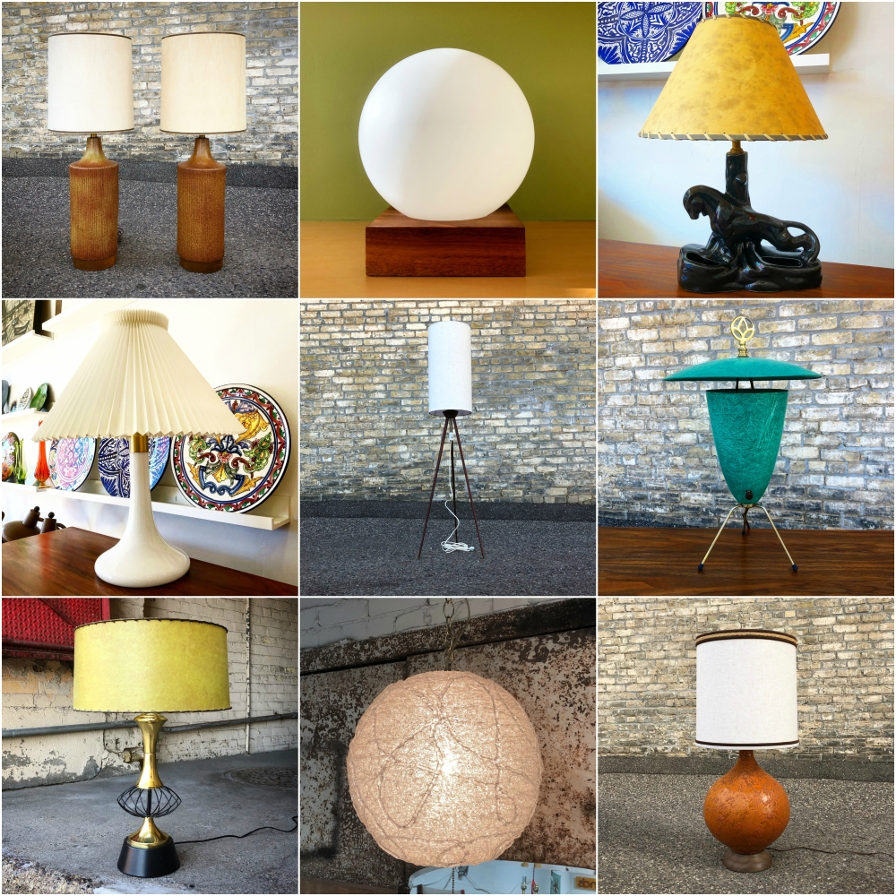 Mid-century lighting collection at MidModMen+friends