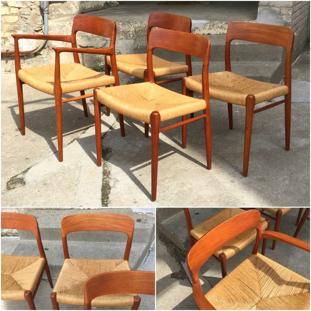 Niels O. Moller Model 56 and 75 dining chairs - J.L. Moller