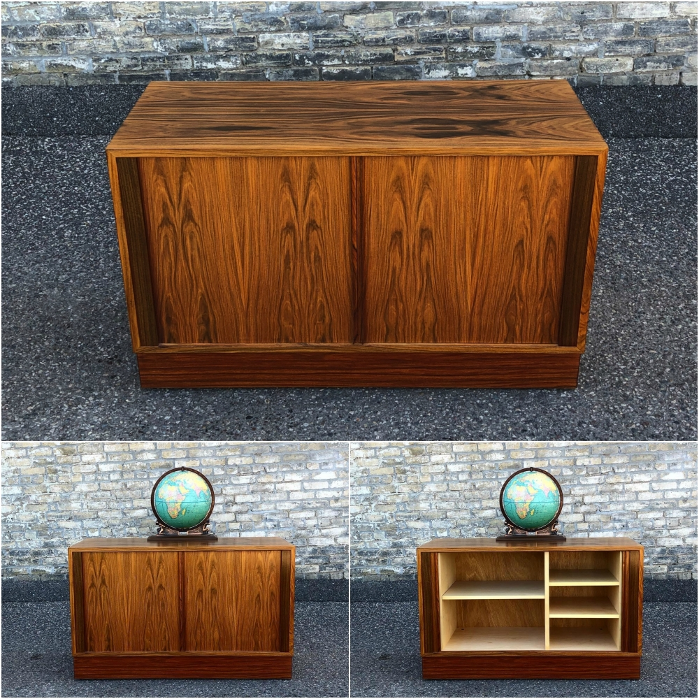 Poul Hundevad double credenza-cabinet in rosewood - tambour doors