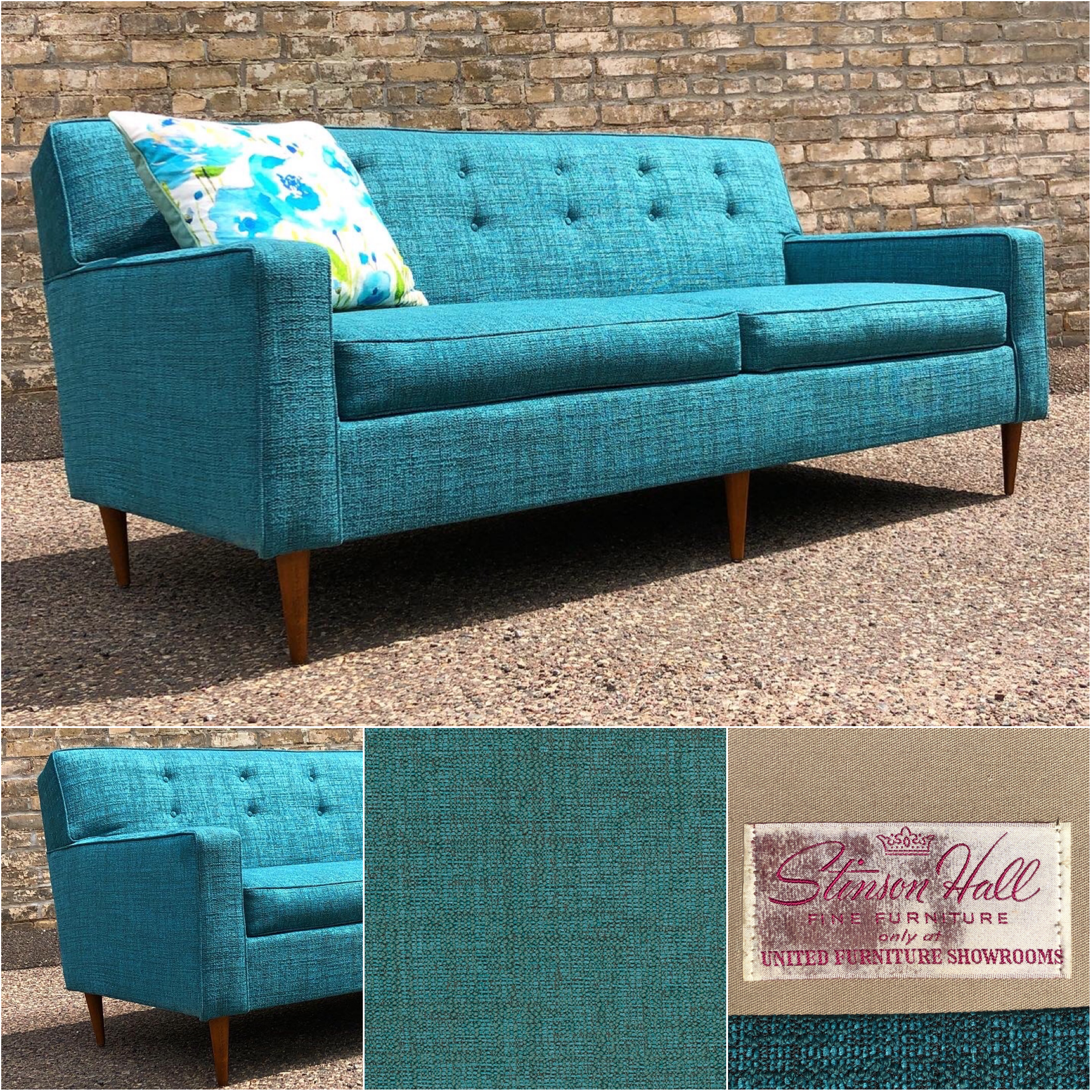 """Mid-century 67"""" sofa reupholstered in teal tweed fabric"""