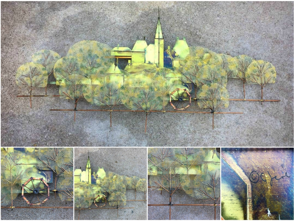 C. Jere metal wall sculpture - village with steeple