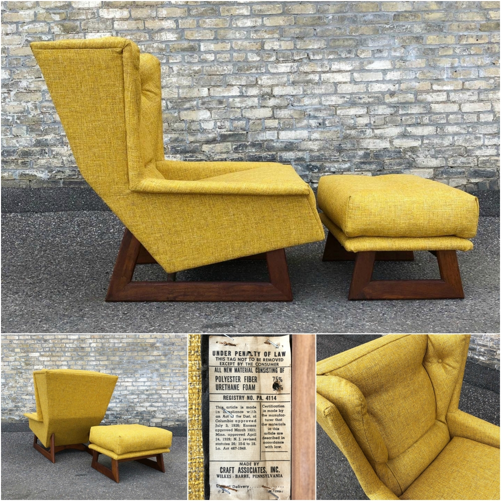 Adrian Pearsall for Craft Associates wingback chair and ottoman