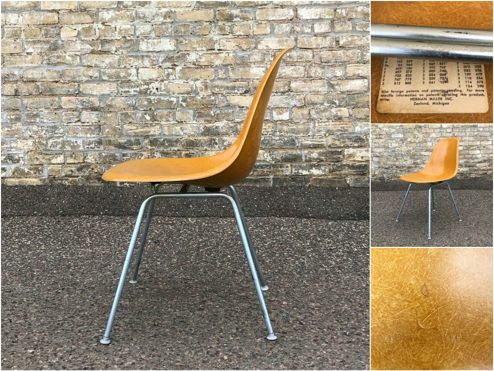 Eames - Herman Miller molded fiberglass chair - ochre dark