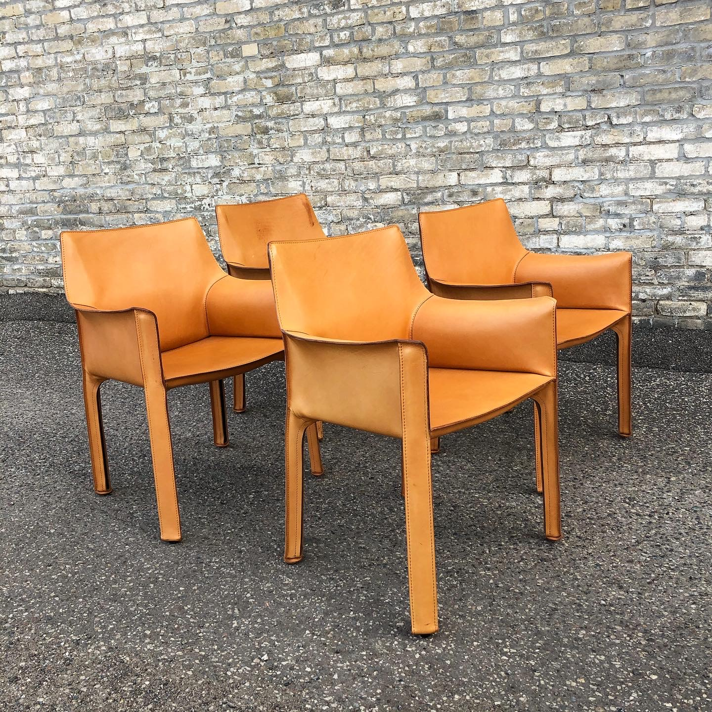 Cassina CAB 413 leather armchairs by Mario Bellini