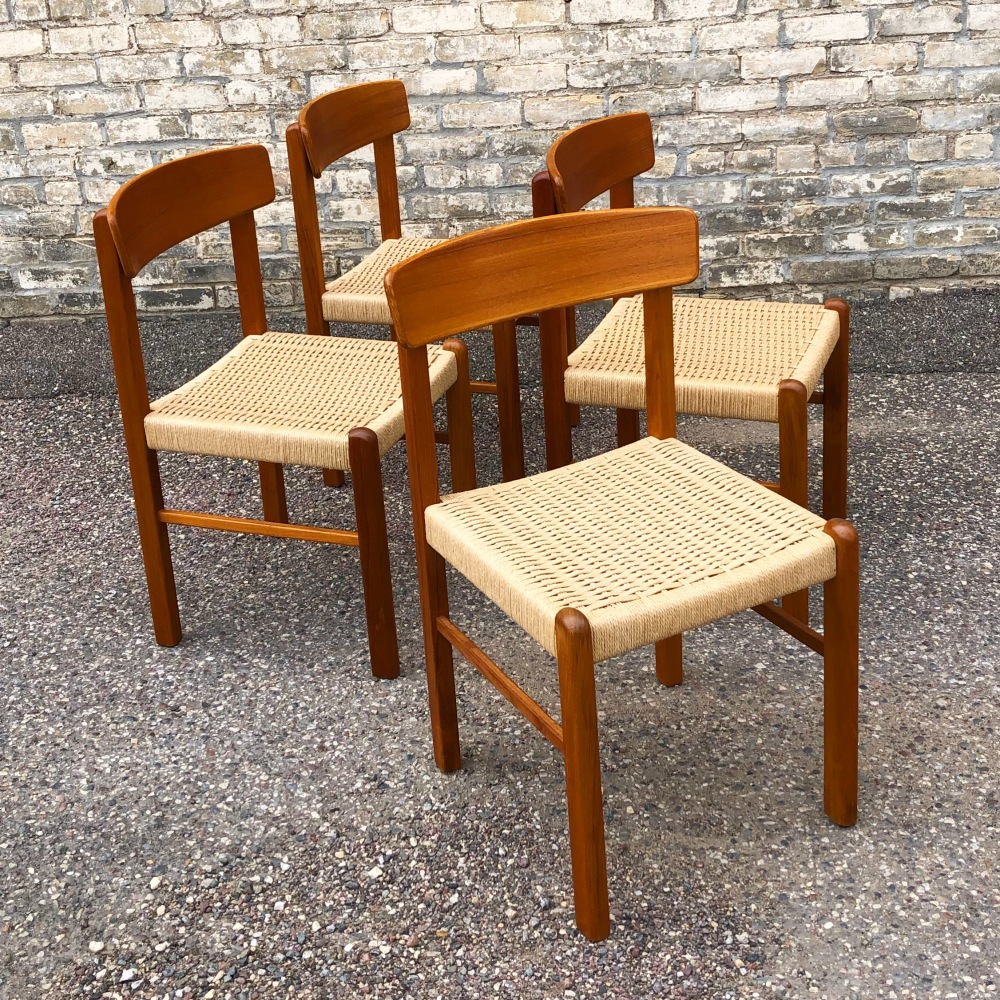 Danish modern dining chairs - teak frames + paper cord seats