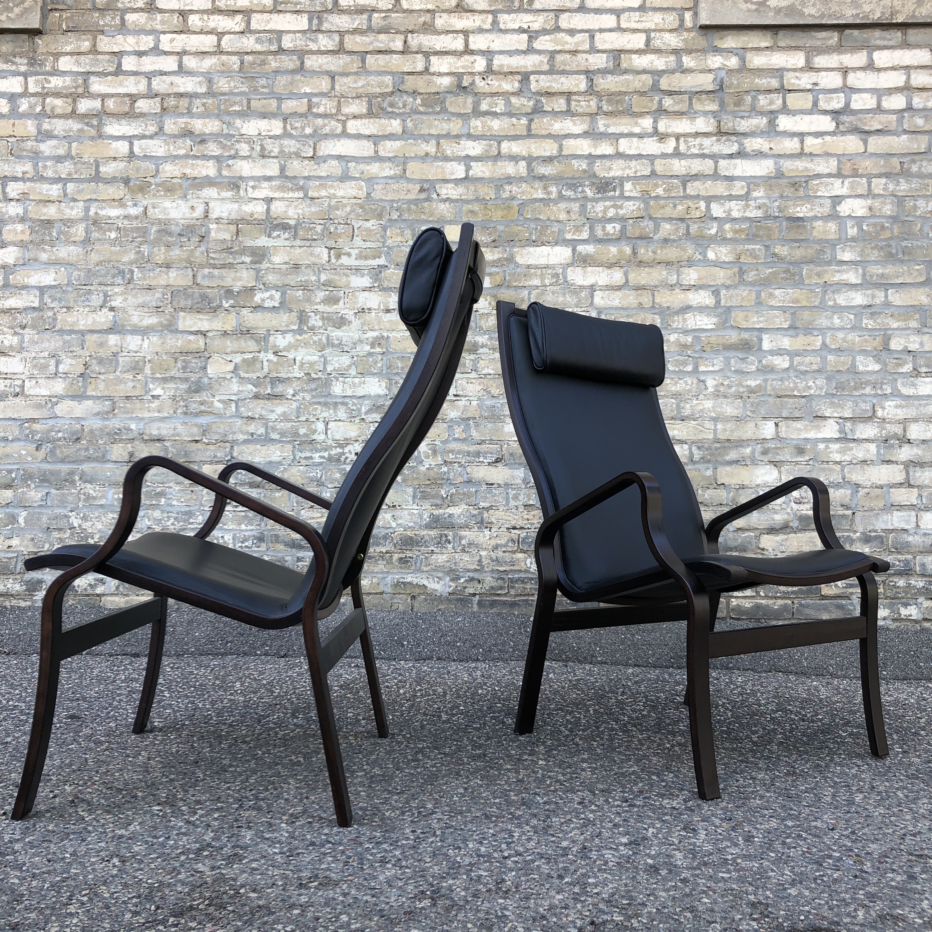 Danish contemporary bentwood frame chairs - leather upholstery