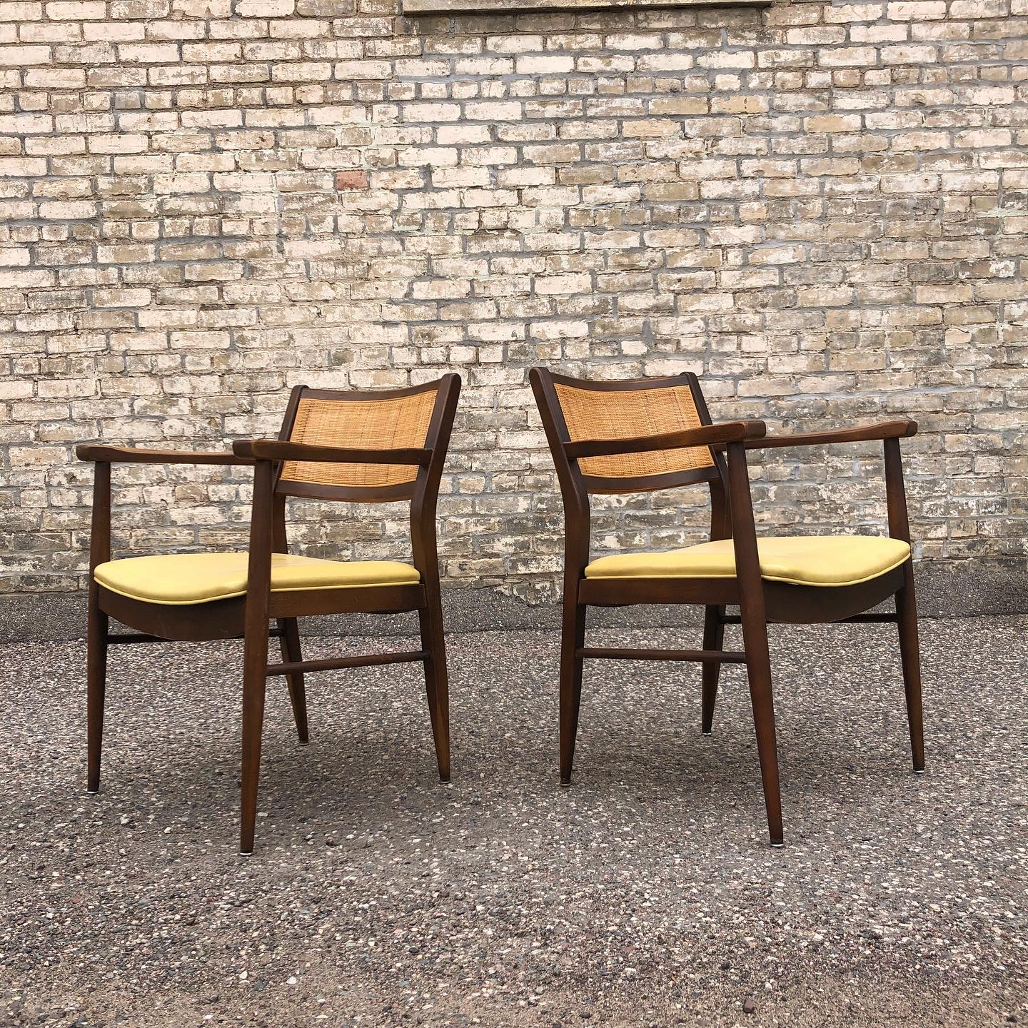 Shelby Williams wood frame accent chairs