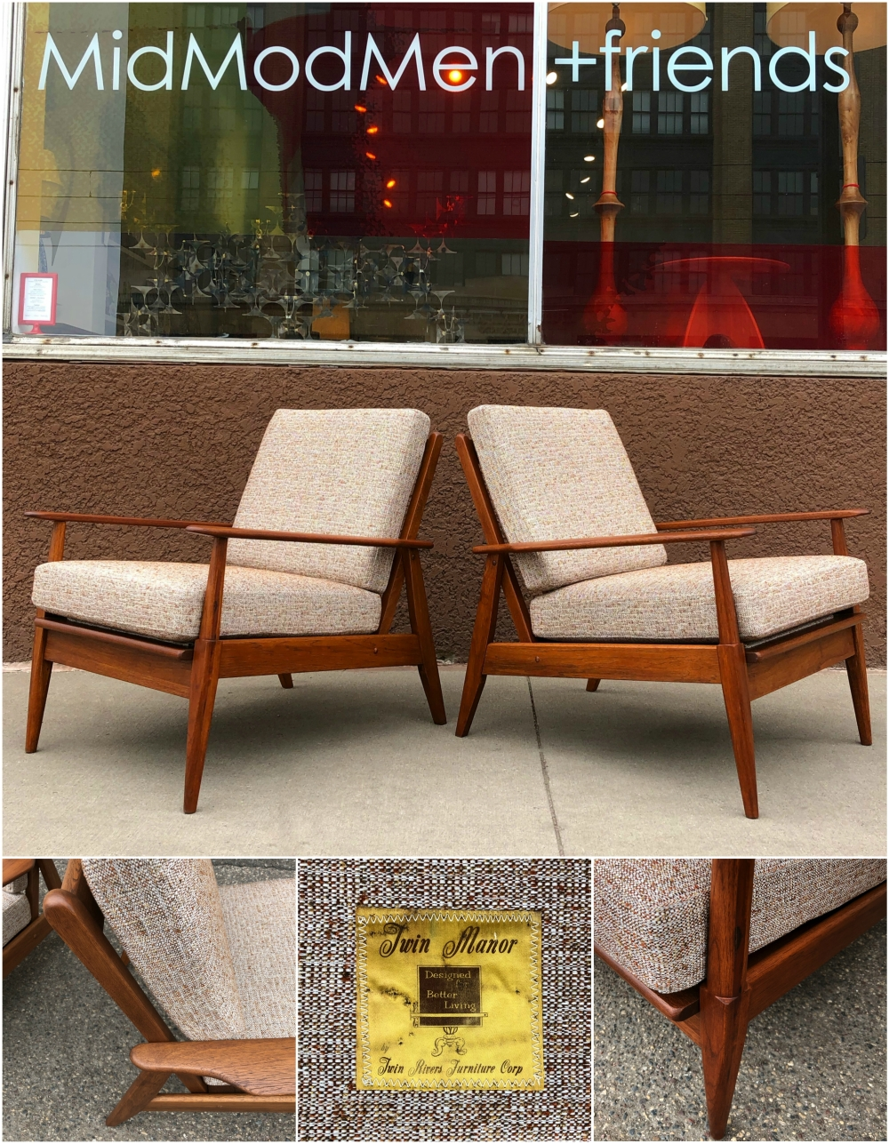 Twin Manor mid-century lounge chairs | fully restored
