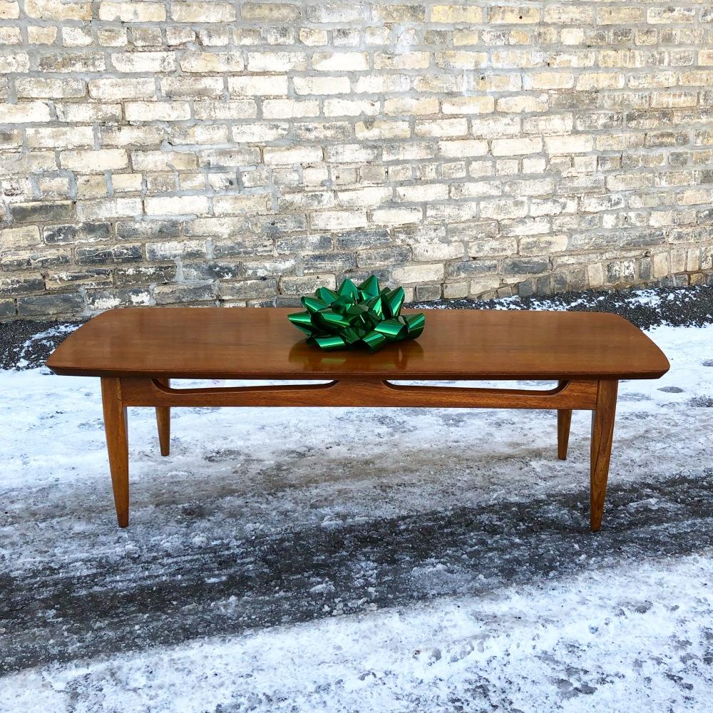 Mid-century walnut surfboard coffee table