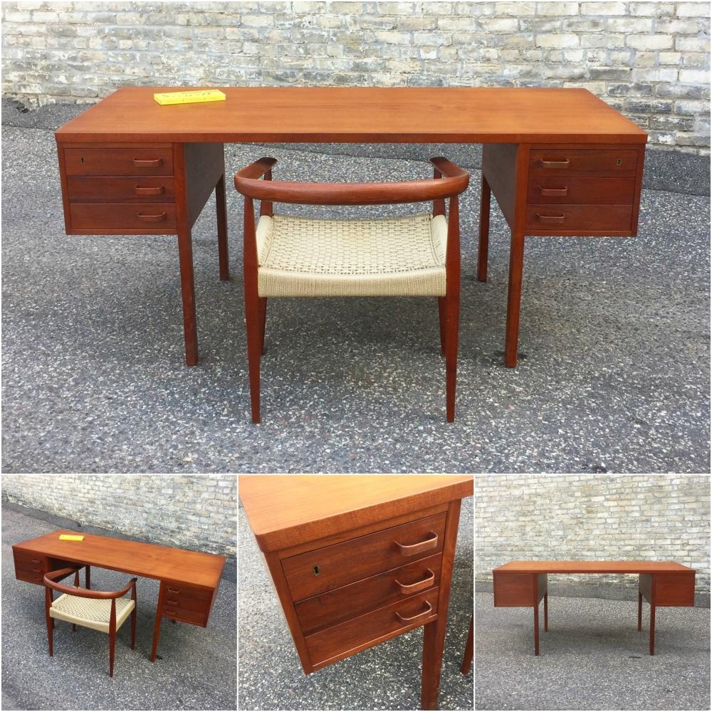 Danish teak desk with hanging drawers