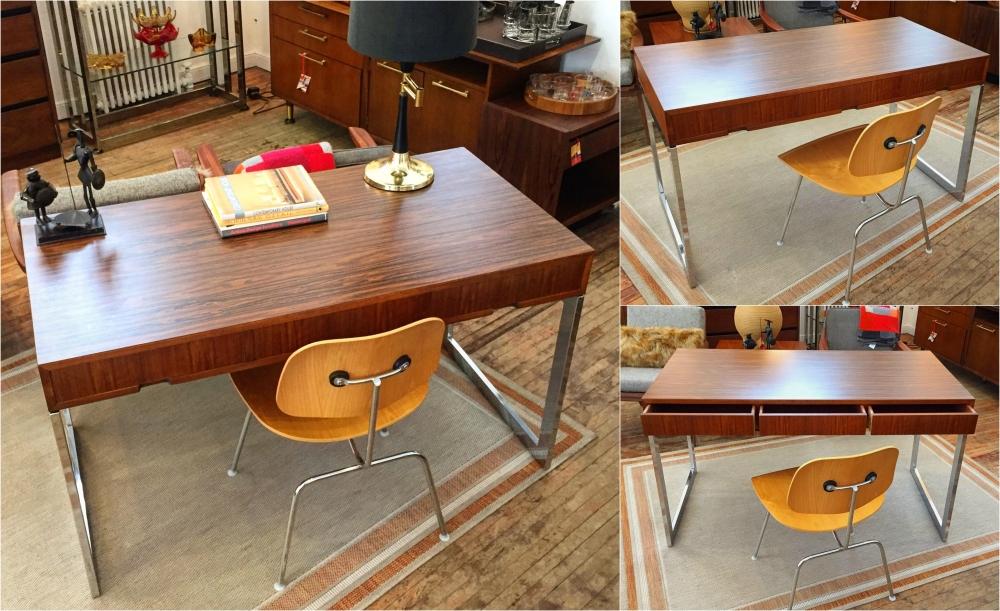 Milo Baughman rosewood writing desk - chrome plated base