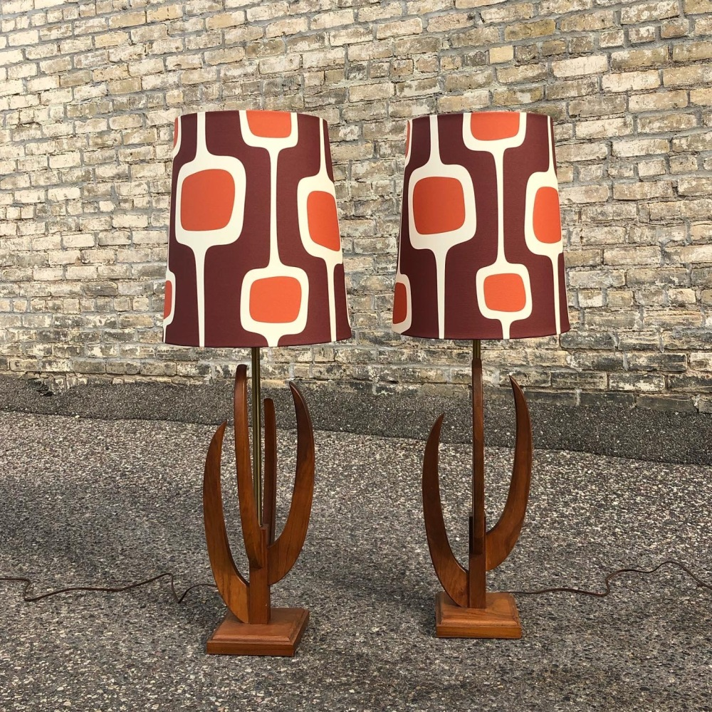 Mid-century walnut lamps with ModiLumi.com custom lampshades