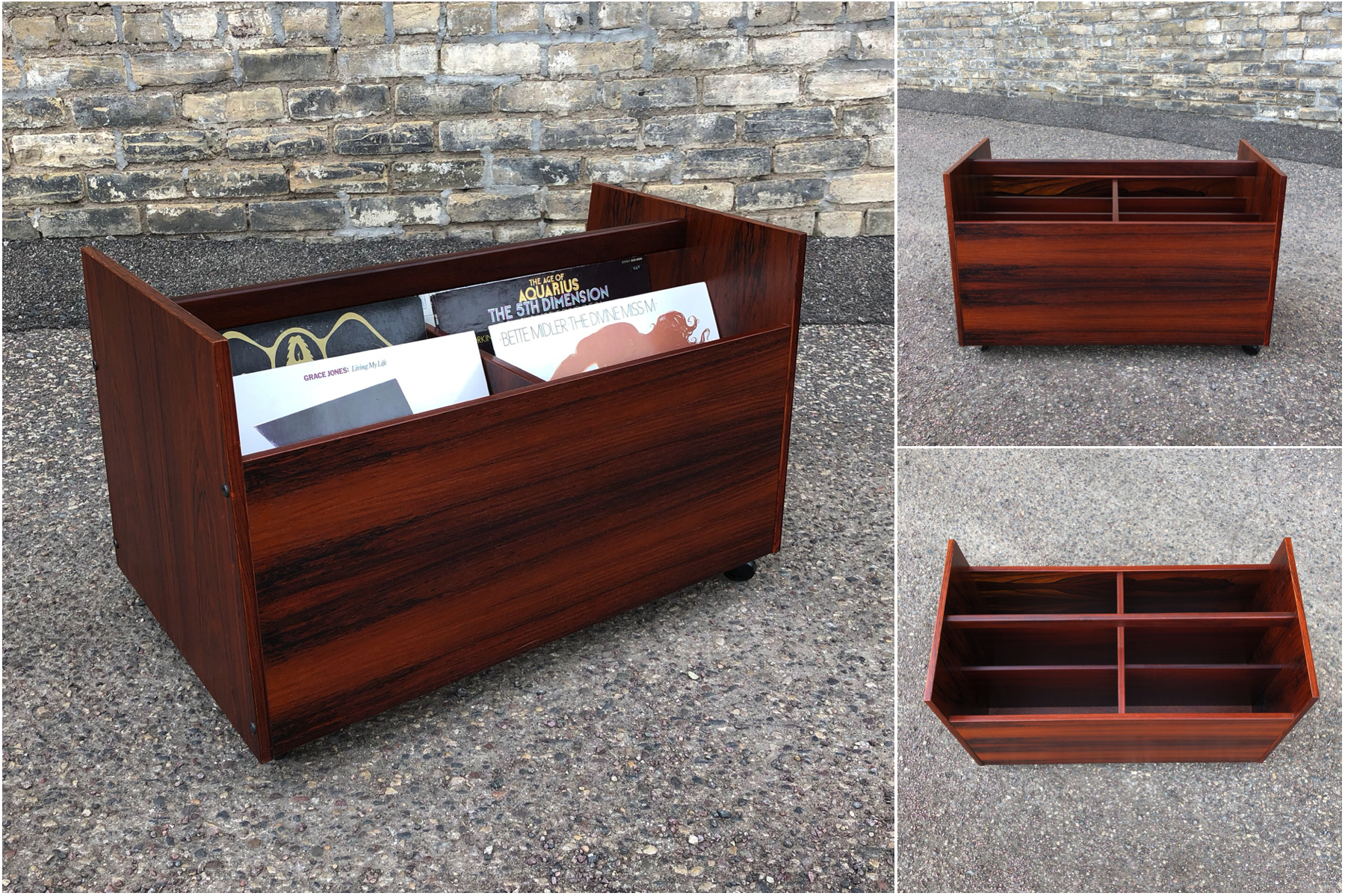 Bruksbo (Norway) rosewood rolling cart for LPs or magazines