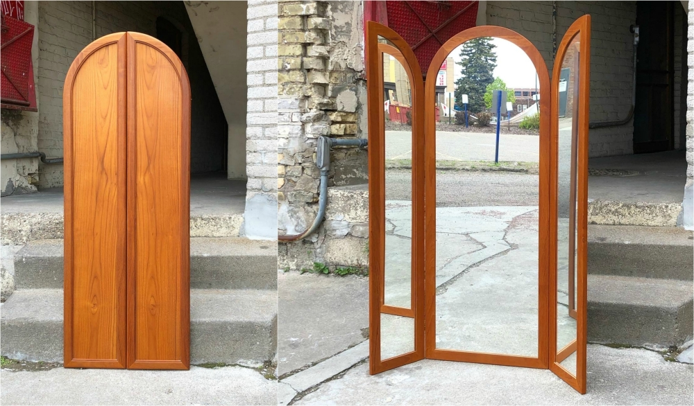 Three-panel teak mirror