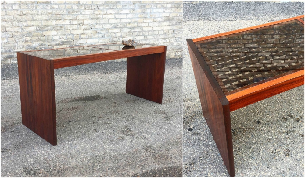 Danish modern rosewood console table