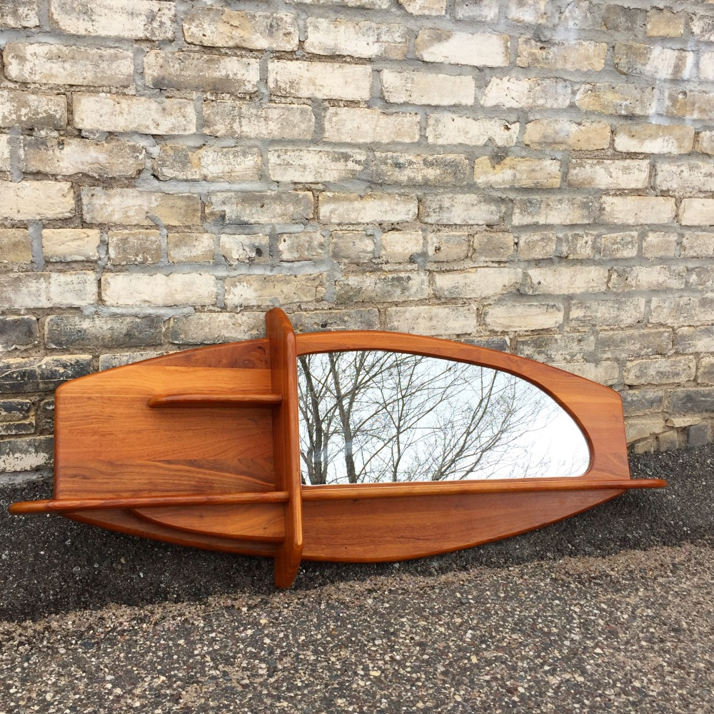 Vintage Belart mirror and walnut shelf