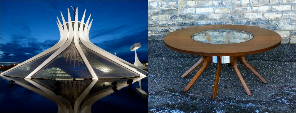Broyhill Brasilia coffee table inspired by Brasilia Metroplitan Cathedral